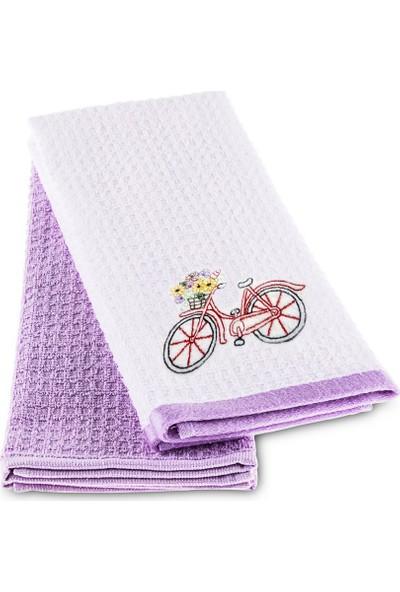 Taç Bicycle İki Renkli Mutfak Havlu Seti LilaBeyaz