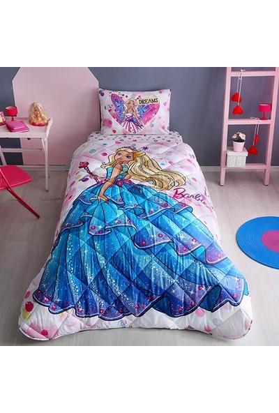 Taç Barbie Yorgan Seti Yastık Hediyeli