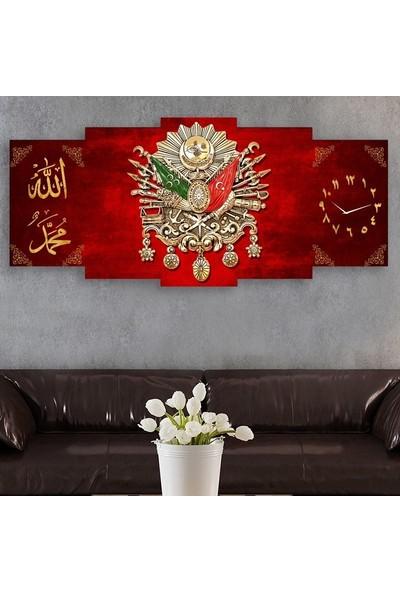 Tek Tablo Beş Parça Osmanlı Arması Kanvas Tablo - Kırmızı