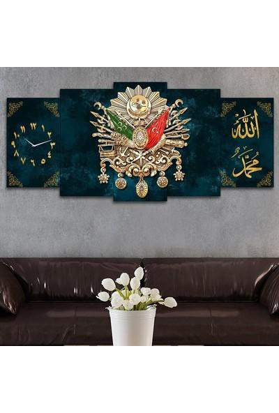 Tek Tablo Beş Parça Osmanlı Arması Kanvas Tablo