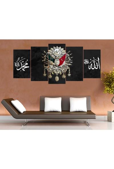 Tek Tablo Beş Parça Osmanlı Arması Kanvas Tablo - Siyah