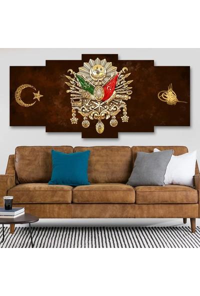 Tek Tablo Osmanlı Arması 5 Parça Kanvas Tablo