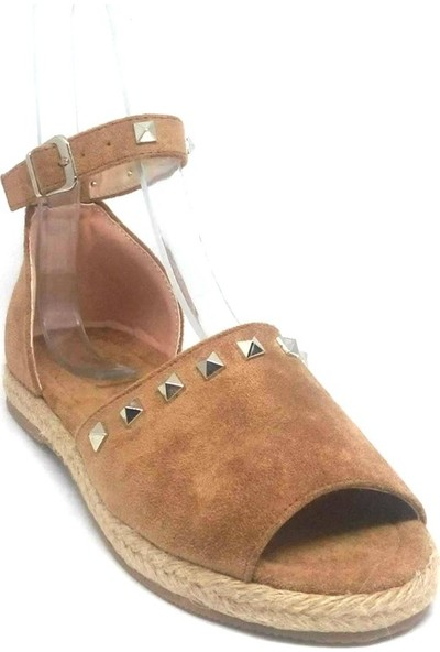 Shop And Shoes 172-1406 Kadın Sandalet Taba Süet