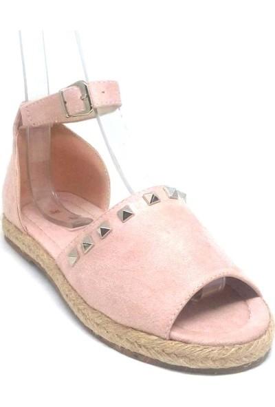 Shop And Shoes 172-1406 Kadın Sandalet Pudra Süet
