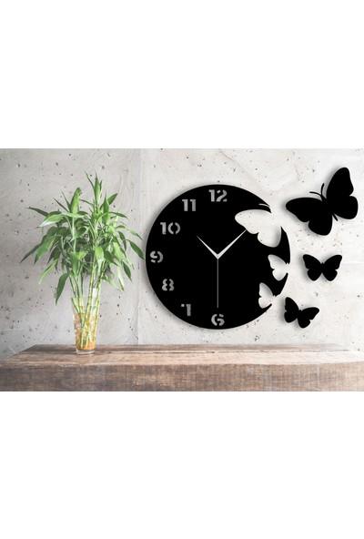 Homecept Ahşap Uçan Kelebekler Temalı Dekoratif Duvar Saati
