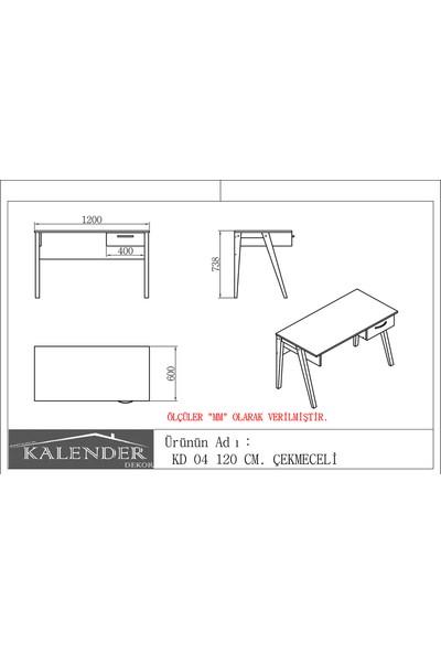 Kalender Dekor KD - 04 120cm Çekmeceli Ceviz Beyaz