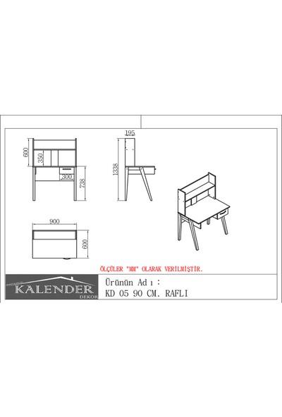 Kalender Dekor KD - 05 90cm Raflı Ceviz Beyaz