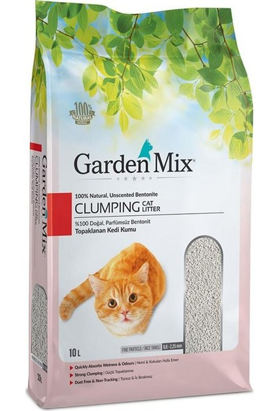 Gardenmix Bentonit Parfümsüz İnce Taneli Doğal Kedi Kumu 10 Lt