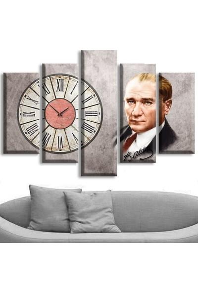 Dekoratifmarket 5 Parçalı Saatli Kanvas Tablolar - Atatürk Tablolar
