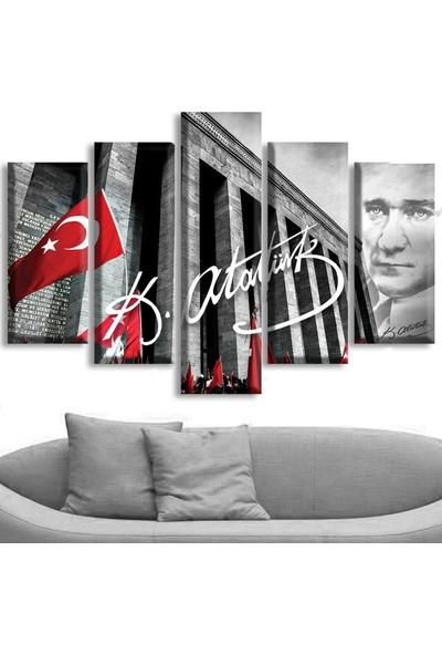 Dekoratifmarket 5 Parçalı Kanvas Tablo - Atatürk Ve Anıtkabir Tablosu