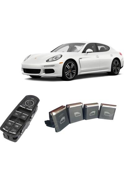 Vipkrom Porsche Panamera 4 Adet Cam Kaldırma İndirme Düğme Seti Porsche Panamera Cam Düğmesi