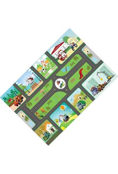 Cici Halı Trafik Arabalı Çocuk Oyun Halısı-80x150