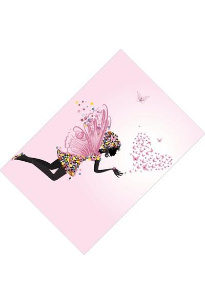 Cici Halı Pastel Kalpli Kelebekli Kız Çocuk Odası Halısı-100x150