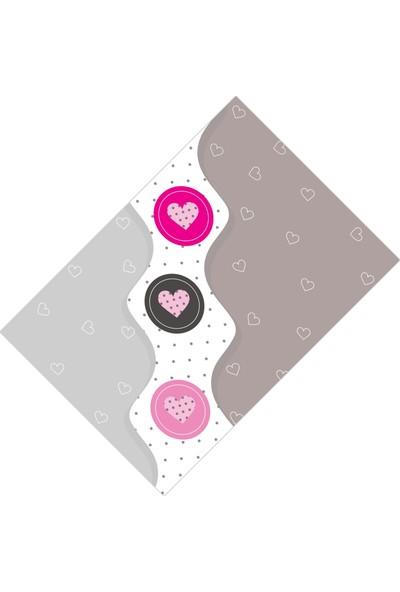 Cici Halı Kalpli Pembe Gri Çocuk Odası Halısı-80x150
