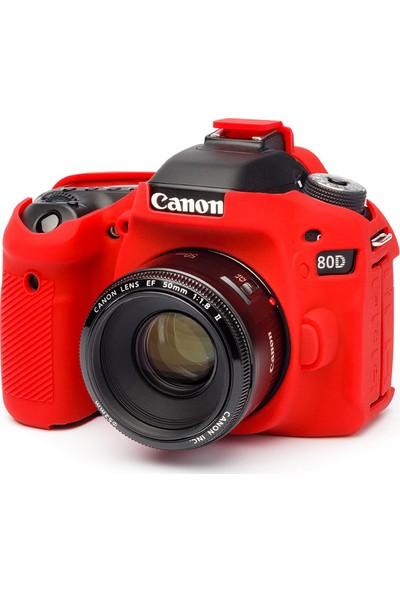 EasyCover Canon 80D Silikon Kılıf ECC80DR (Kırmızı)