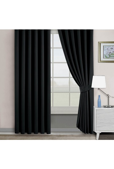 Belle Cose Blackout Karartma Siyah Fon Perde 80 x 250 cm Tek Kanat