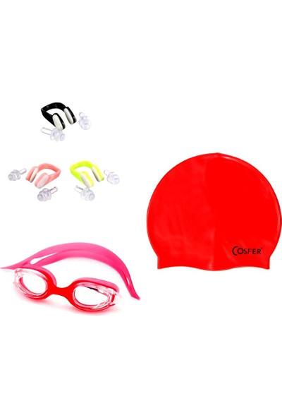Cosfer CSF-DS01 Yüzücü gözlüğü,Bone,Burun ve Kulak Tıkacı