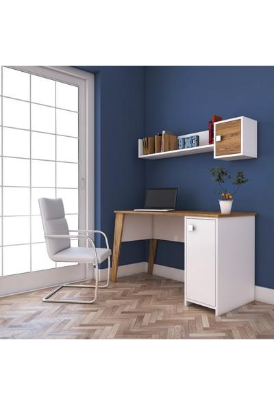 Rani C2 Kitaplıklı Dolaplı Çalışma Bilgisayar Masası Ceviz Beyaz M1