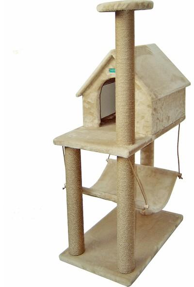 Turkuaz Pet Tr511 Hamak Ve Çatılı Kedi Oyun Evi ,Kedi Tırmalama Tahtası