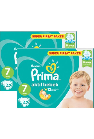 Prima Bebek Bezi Aktif Bebek 7 Beden XX Large Aylık Fırsat Paketi Paketi 84 Adet