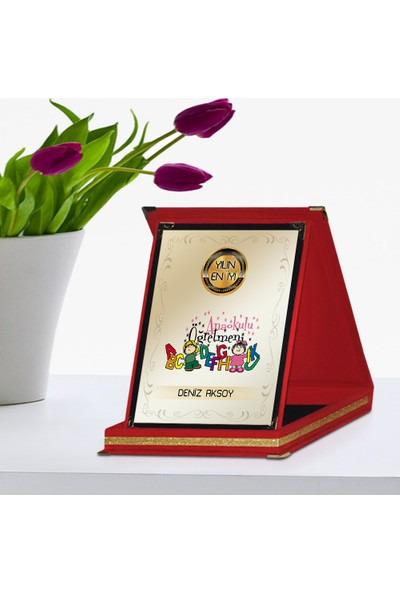 E-Hediyeci Kişiye Özel İsim Yazılı Yılın En İyi Anaokulu Öğretmeni Kırmızı Plaket Ödülü - 4