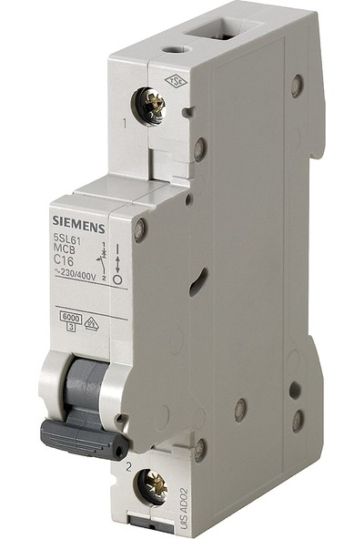 Siemens 5Sl6125-6Ya 1 Fazlı 25 Amper B Tipi (Çabuk Karakterli) 6Ka Otomatik Sigorta