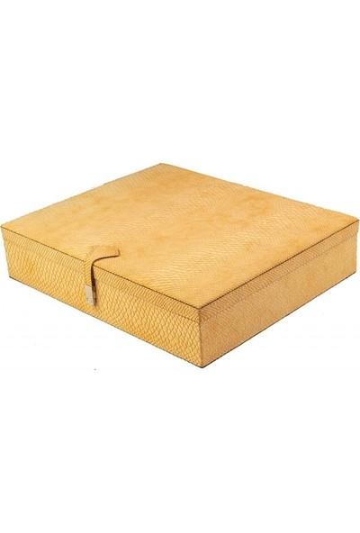 DearyBox KBN-05 Sarı Deri Büyük Boy Takı Kutusu