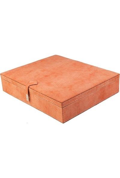DearyBox KBN-02 Turuncu Deri Büyük Boy Takı Kutusu