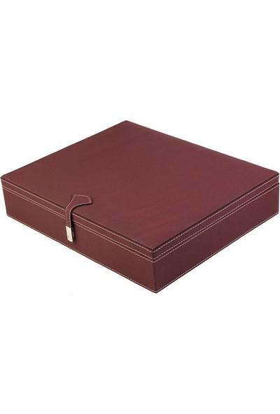 DearyBox KBL-03 Bordo Deri Büyük Boy Takı Kutusu