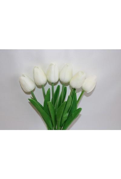 Çiçek Islak Lale 6 Adet Beyaz Renk