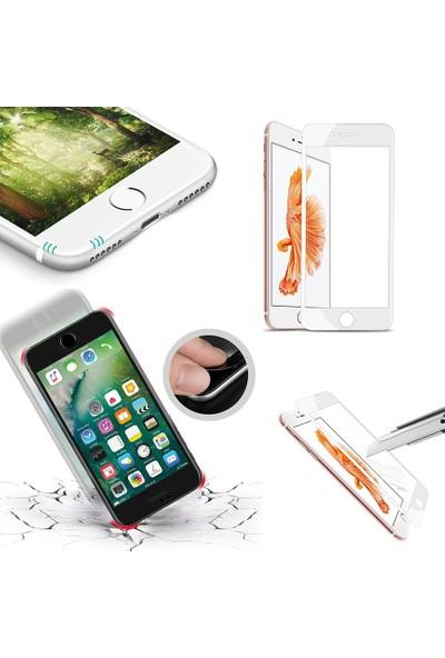 AntDesign 6D Eğimli Kenar Ön Panel iPhone 8 Cam Ekran Koruyucu Beyaz