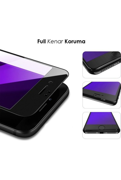 AntDesign Anti Blue Light iPhone 6/6S/7/8 Plus Mat Cam Ekran Koruyucu Siyah