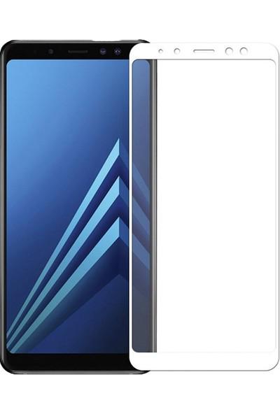 AntDesign 5D Tüm Yüzey Galaxy A8 2018 Plus Cam Ekran Koruyucu Beyaz