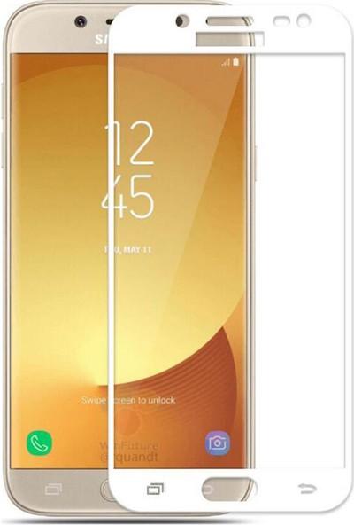 AntDesign 5D Tüm Yüzey Samsung Galaxy J3 Pro Cam Ekran Koruyucu Beyaz