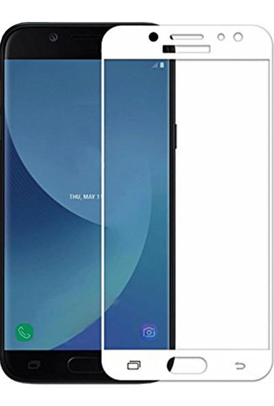 AntDesign 5D Tüm Yüzey Galaxy J7 Prime Cam Ekran Koruyucu Beyaz