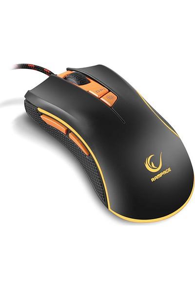 Rampage SMX-R9 USB 1000-3200DPI RGB Işıklı Oyuncu Mouse Siyah - Turuncu