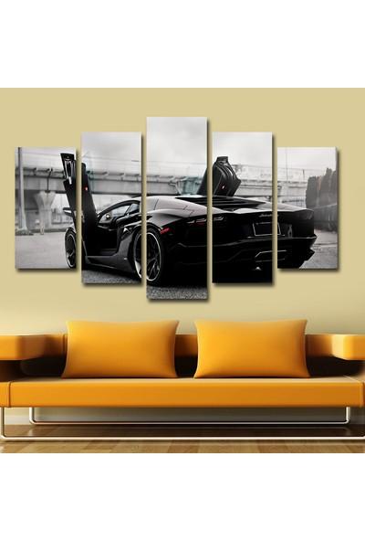 Agf Tablo Siyah Spor Araba Temalı Dekoratif 5 Parça Mdf Tablo