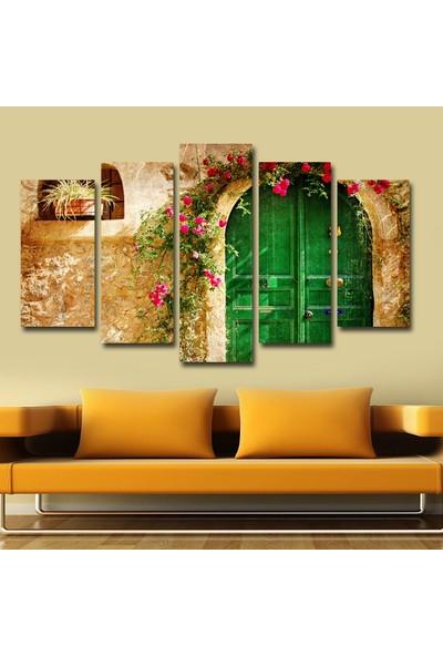 Agf Tablo Yeşil Kapı Dekoratif 5 Parça Mdf Tablo