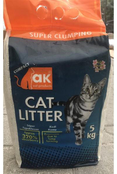 Akkum Pudra Kokulu Kalın Taneli Topaklanan Kedi Kumu 5 Kg