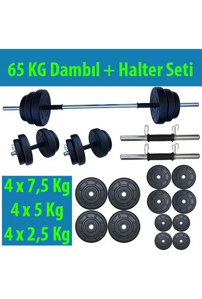 Dambılcım 65 KG Halter Seti Dambıl Seti Ağırlık ve Vücut Geliştirme Aleti 65 KG Spor Dumbell Set