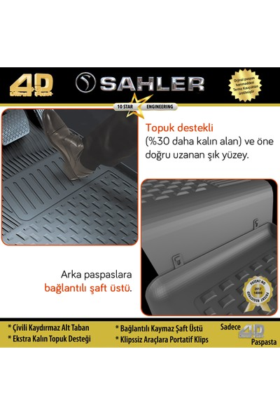 Sahler Toyota Corolla 2013 - 2018 4.5D Paspas Siyah