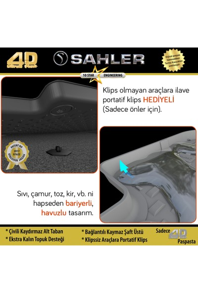 Sahler Volkswagen Golf 7 2013 - 2018 4.5D Paspas Siyah