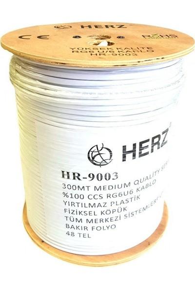 Herz Rg6U6 Uydu Anten Kablosu 300Metre Beyaz