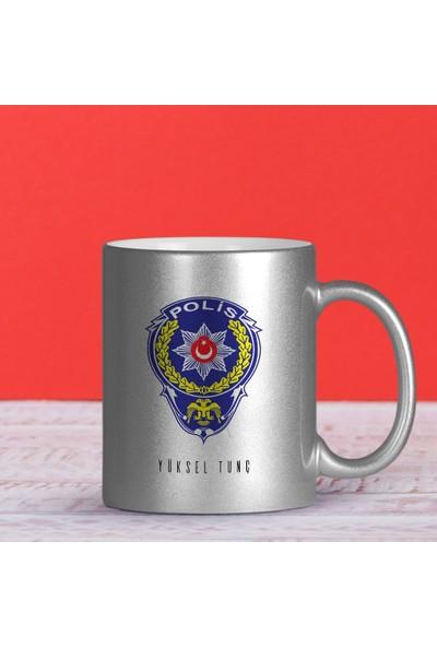 Leydi Collection Kişiye Özel Mesleki Polis Gümüş Yaldızlı Kupa Bardak - 2