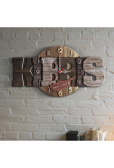 Leydi Collection Kişiye Özel Kıbrıs Tasarımlı Ahşap Duvar Saati - 4