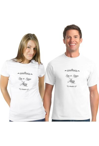 Leydi Collection Kişiye Özel İkili Bay ve Bayan Beyaz Takım Tişört