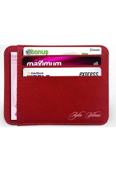 Leydi Collection Kişiye Özel Kırmızı Kredi Kartlık Cüzdan