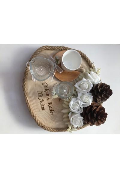 Atelier Es Damat Fincanı Takımı Doğal Ahşap 30 cm Çap Büyük Boy Kütük