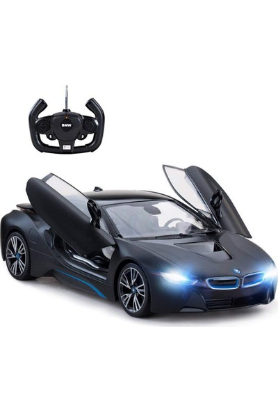 Rastar R/C 1/14 Uzaktan Kumandalı Kapıları Açılan USB Şarjlı BMW i8 Araba - Mat Siyah