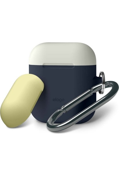 Elago Apple Airpods 2'li Askılı Silikon Kılıf Duo Hang Case Jean Indigo/Classic White/Yellow